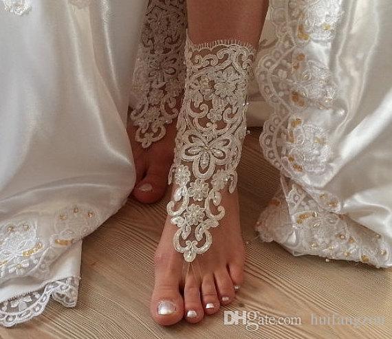 Romantic Beach Weddings Shoes Delicate Lace Applqiues Sequins Open Toe Ankle Flat Bridal Shoe For Summer