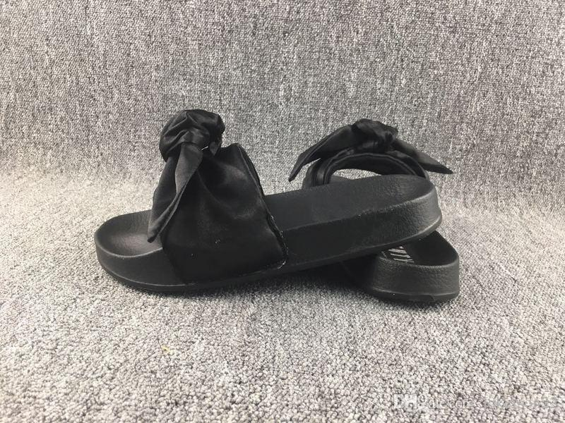 buy popular a979f e816e 2017 Olive green Fenty Bowtie Rihanna Slippers Leadcat bowtie Slippers  Shoes Slides Women Sandals Pink White Olive green Slippers
