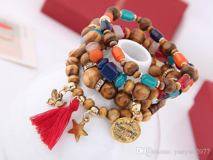 Bohemia Ethnic Fashion Jewelry Vintage Retro Wood Beads Tassel Stars Butterfly Accessories Statement Multilayer Bracelets Elasticity Bangles