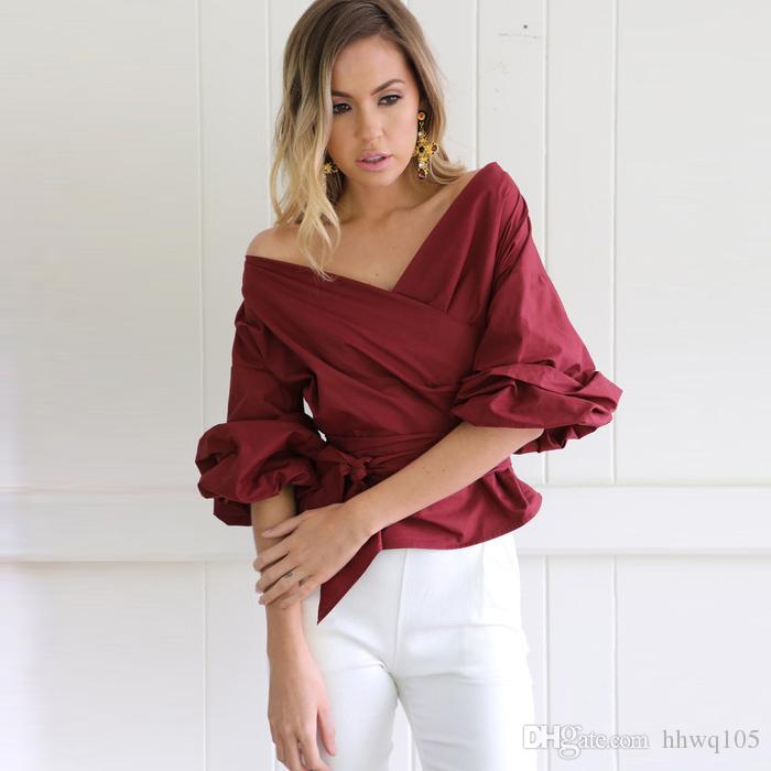 2019 2018 New Style Ladies Blouse Bell Sleeve V Neck Wrap Crop Top