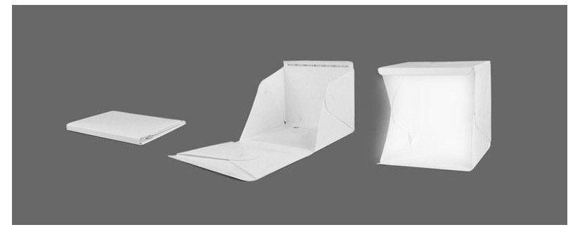 Mini Led Estudio de disparo plegable Carpa Fotografía de iluminación Kit Carpa con blanco y Telón de fondo Negro Box Fotografía portátil