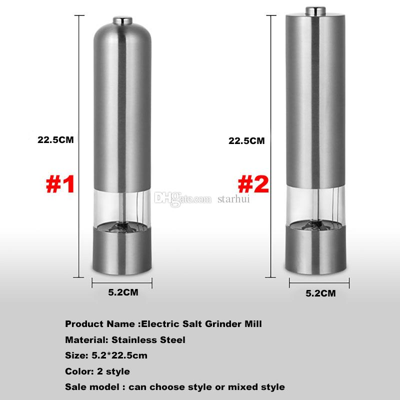 Stainless Steel Pepper Mill Shaker Pepper Grinder Pepper Mills Electric Salt Mill Cook Tools Family Barbecue Kitchen Mills WX9-103