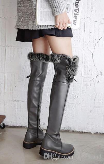 Stiefel Warme Schwarz Damen Mode Halten Dame Großhandel Booties 2017 Overknee Von Schuhe Frauen Persönlichkeit Ferse Hohe Flache 29EIWDH