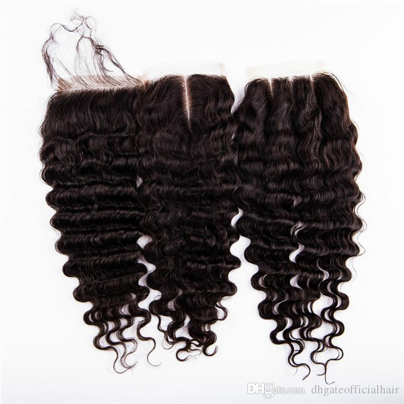 Malaysian brazilian deep wave closure 4*4 inch human hair swiss lace cheap lace closure free 3 Way or Middle Part with baby hair