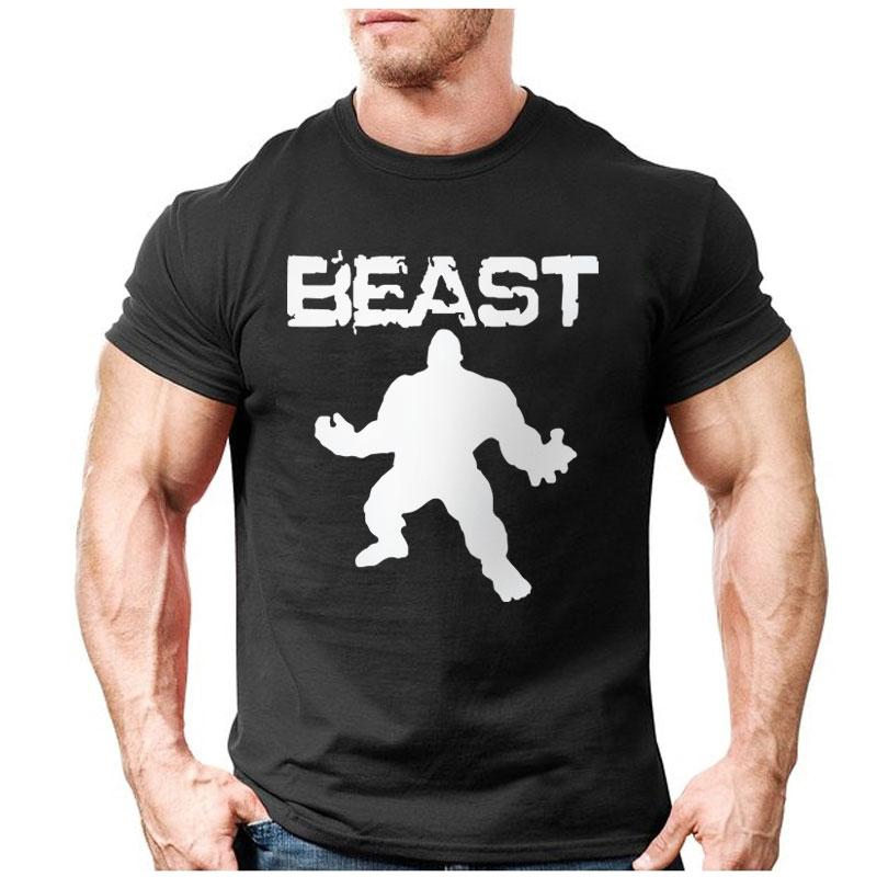 New Brand Clothing Bodybuilding Fitness Men Beast Printed