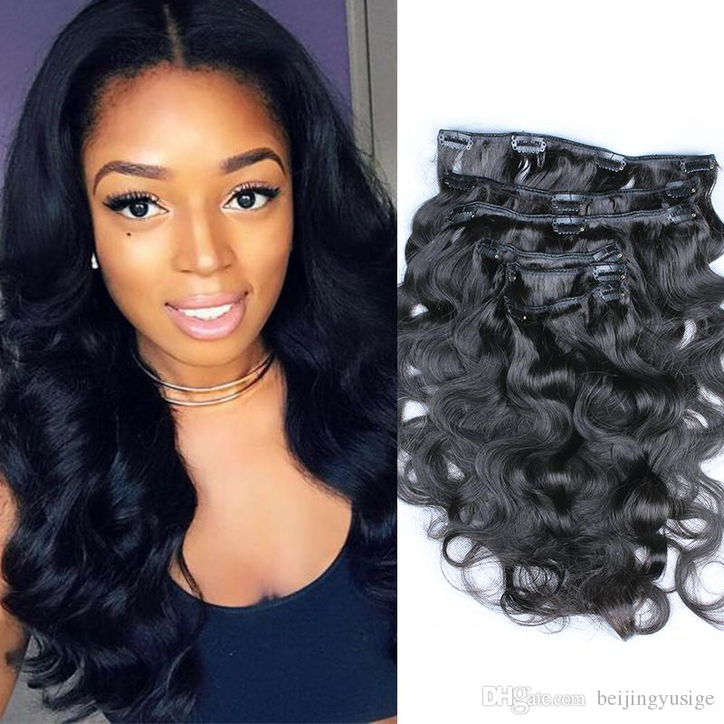 Mongolian Body Wave Clip In Hair Extensions Can Be Dyed Natural