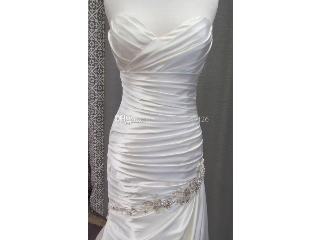 Real Photos Custom made Fit and Flare Sweetheart Dropped Waist Satin COR-438 Ruched Pleat Beaded Wedding Dress Bridal Gowns