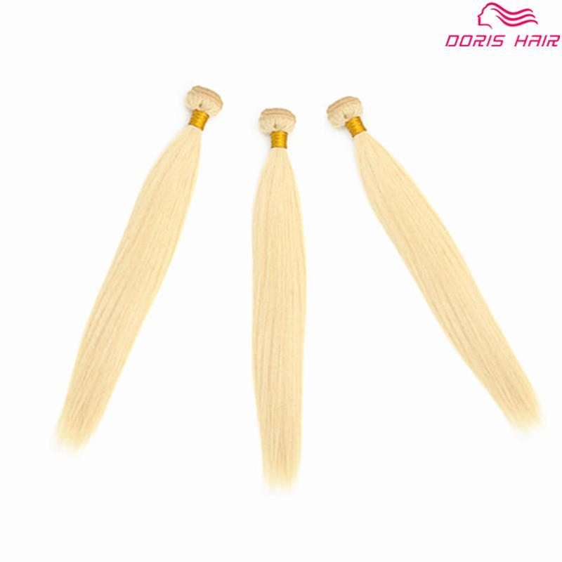 Роскошный блондин 613 цвет реми пучки волос уток бразильский индийский человеческий волос плетение шелк прямой цветной окрашиваемый бесплатно DHL