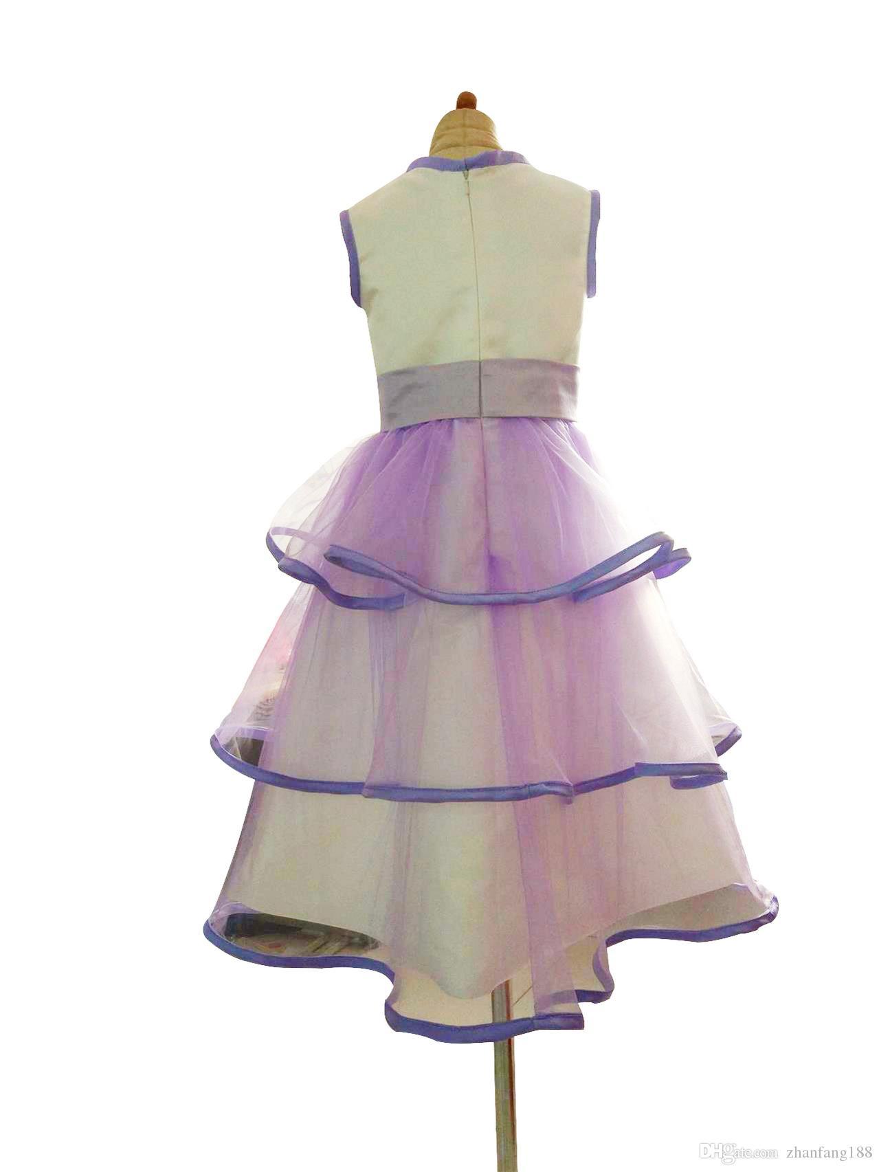 2019 heiße neue Erstkommunion Kleider für Mädchen Kurzarm Schaufel Blume Perlen weiße Blumenmädchenkleider für Hochzeiten