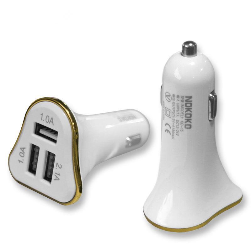 3 Port USB Araç Şarj Yeni Tasarım Zarif Beyaz Vücut Renkli Çerçeve 2.1A Samsung S8plus S8 HTC Için Hızlı Şarj Araç Şarj LG Ücretsiz DHL