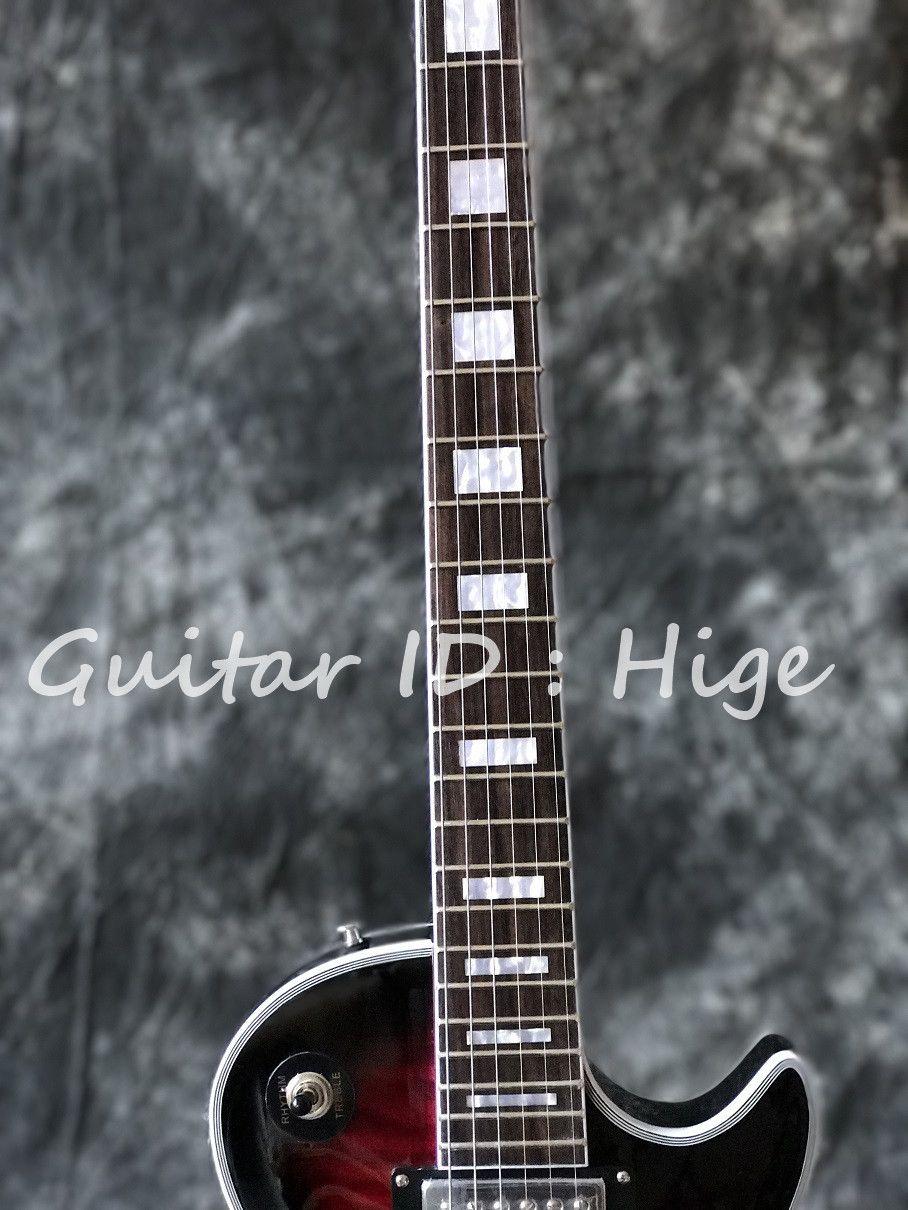 Vendita calda di alta qualità NUOVO Arrivo personalizzato chitarra elettrica con hardware CHROME, Vintage rosso trapuntato Top acero trapuntato