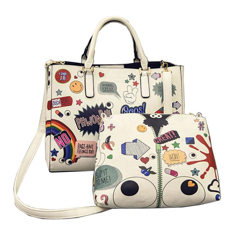 Wholesale Luxury Handbag Brand Design Women Graffiti Printing Tote Shoulder  Composite Bag 2ps Cartoon Big Eyes Messenger Bag WB394 Clutch Bags Designer  Bags ... 992711c0b824e