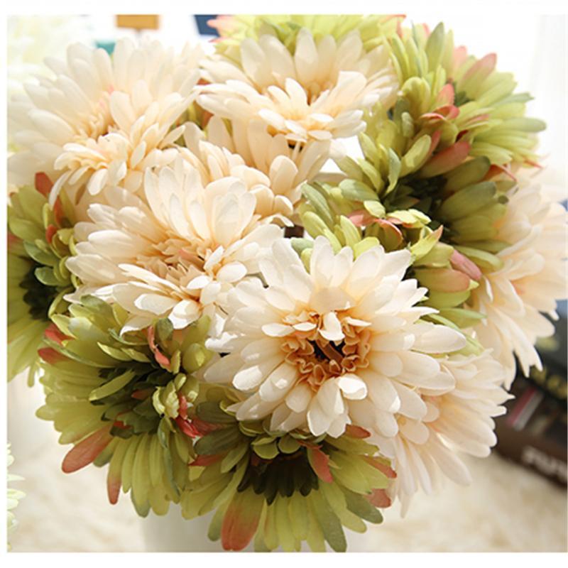 2018 Wholesale 7 Heads Gerbera Bouquet Artificial Flower Wedding ...