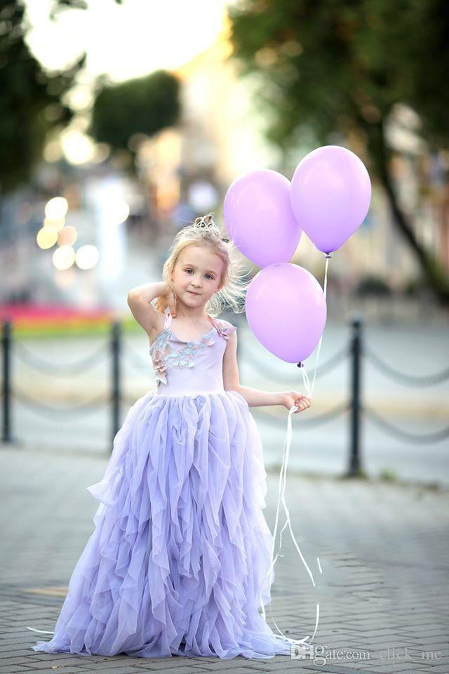 Lavender Halter Flower Girl Dresses For Weddind Ruffles Tulle Tiered Girls Pageant Dress Toddler Floor Length Kids Communion Dress