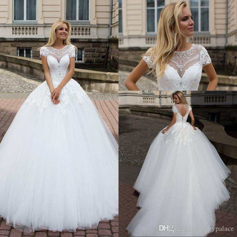 539f6c39c5 Discount A Line High Collar Court Train Tulle Lace Wedding Dresses With  Short Sleeve Lace Crystal Gorgeous 2017 Bridal Wedding Dress Bride Wedding  Dresses ...