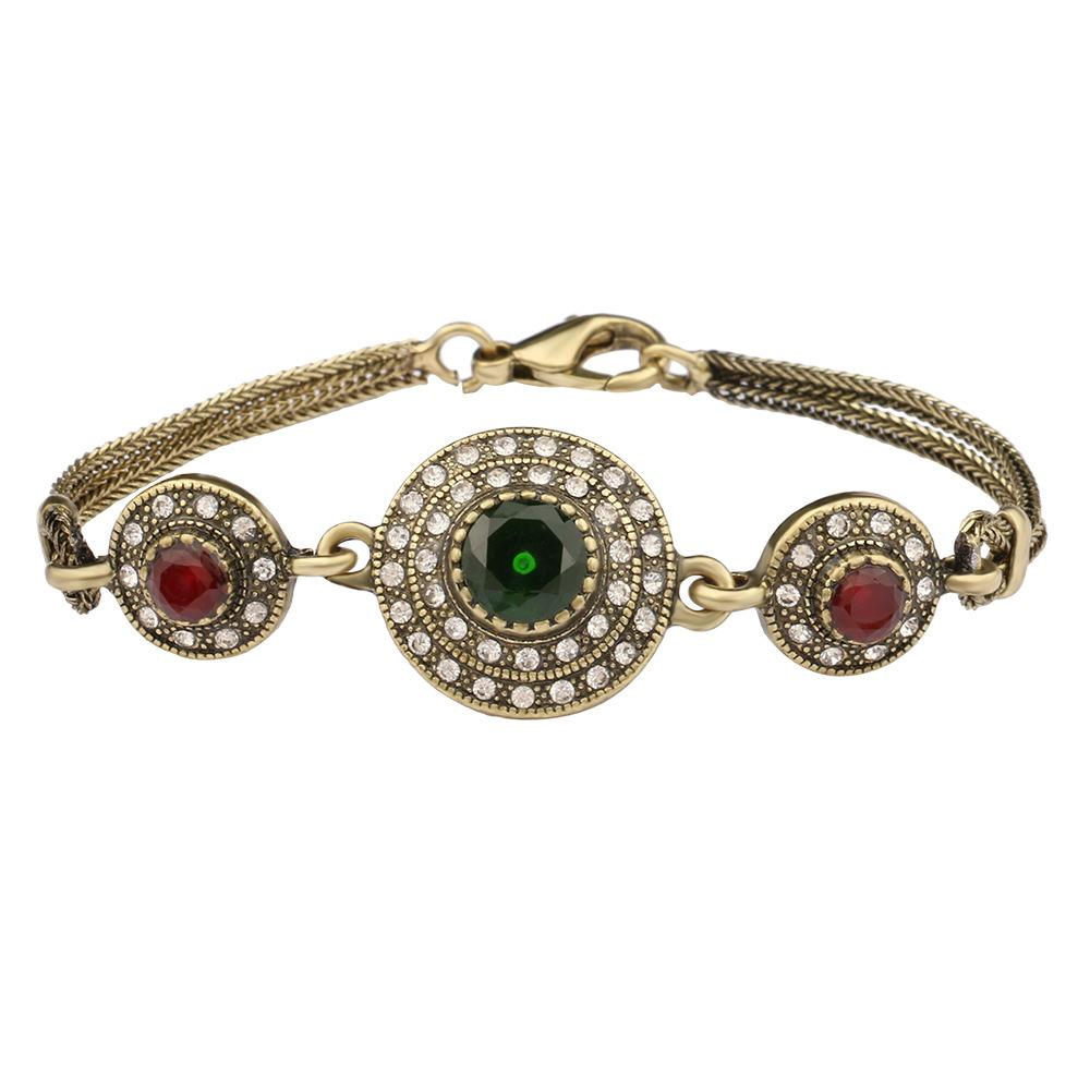 Antique Gold Plated Vintage Bangles Resin Bracelets Women Pulseiras Feminino Green Pulseras Turkish Bracelet Bijouterie