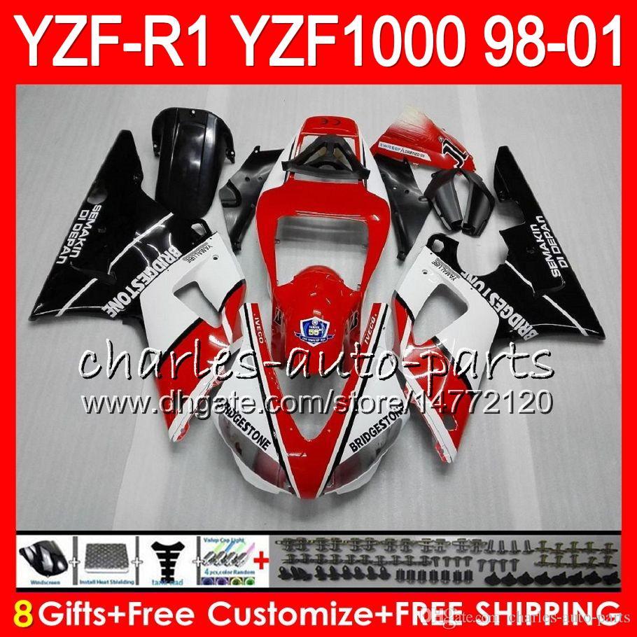 8Gift Ciało dla Yamaha YZF1000 YZFR1 98 99 00 01 YZF-R1000 czerwony biały 61HM11 YZF 1000 R 1 YZF-R1 YZF R1 1998 1999 2000 2001 Owalnia