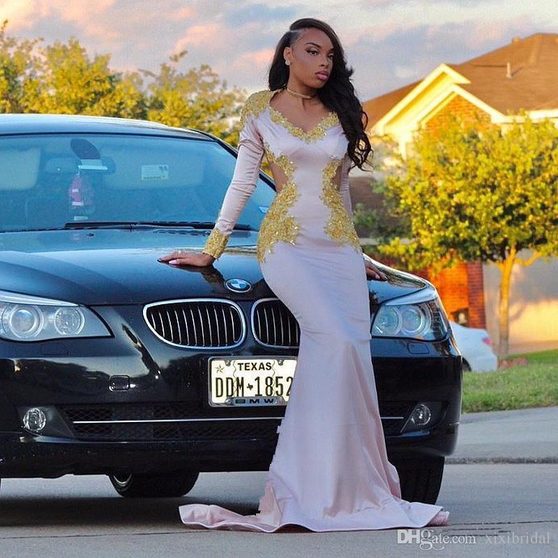 Branco Sereia Vestidos de Noite Mangas Compridas Apliques de Ouro Sexy Decote Em V Frisado Prom Vestido 2017 Árabe Preto Meninas Formais Vestidos de Festa