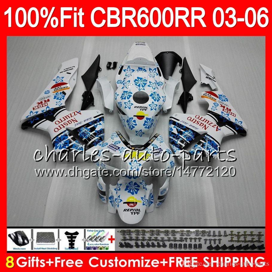 8Gifts Injection HONDA CBR 600 RR CBR600RR 03 04 05 06 43HM4 CBR 600RR F5 CBR600F5 CBR600 RR 2003 2004 Carenatura bianco nero