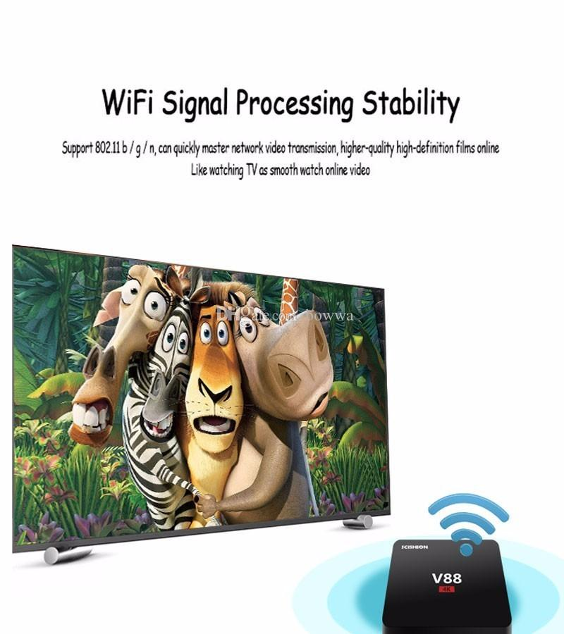 V88 4K Android 5.1 Smart TV Box Rockchip 3229 1G/8G 4 USB 4K 2K WiFi Quad Core 1.5GHZ KOI Media Player Mini PC