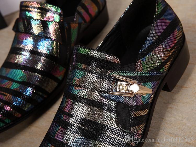 Spitze Zehen Schlange Muster Sapato Masculino Schnalle Business Männer Lederschuhe England Stil bunt gestreiften Hochzeitskleid Schuhe