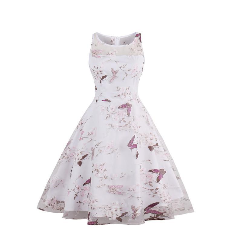 New Women\'S Organza Swing Rockabilly Dress Pin Up 1950s Floral Print ...