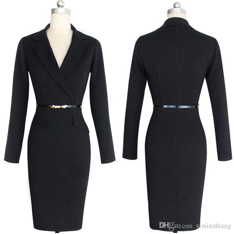 vestidos de trabajo de las mujeres con el vestido hasta la rodilla lápiz OL estilo cintura delgada de cuello chaqueta de manga larga