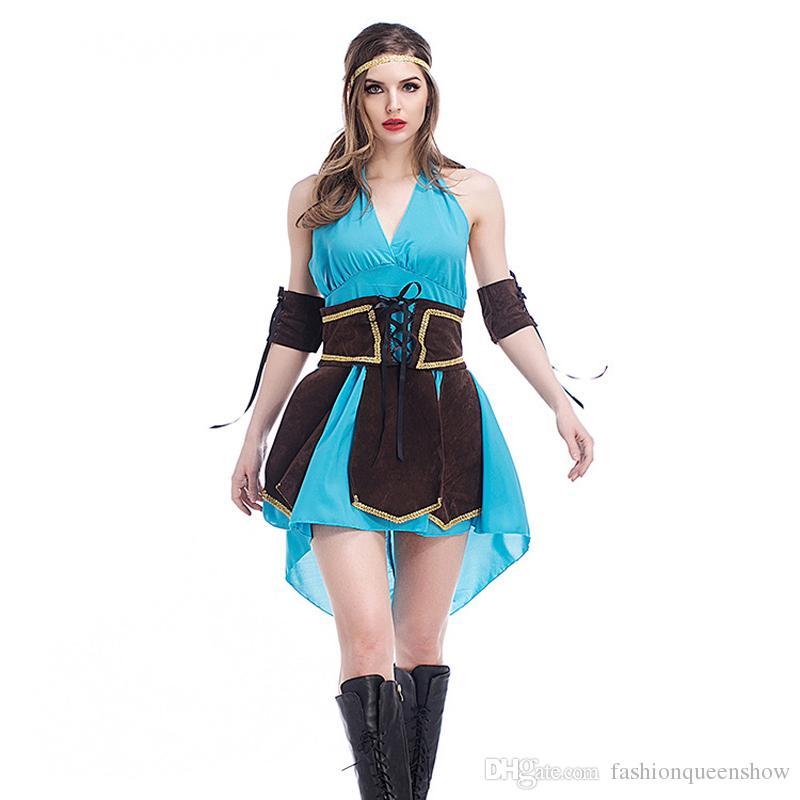 Halloween Sexy Costume Femmes Hero Theft Cosplay Dress Bleu Dos Nu Pirate Dress Club Thème Uniformes
