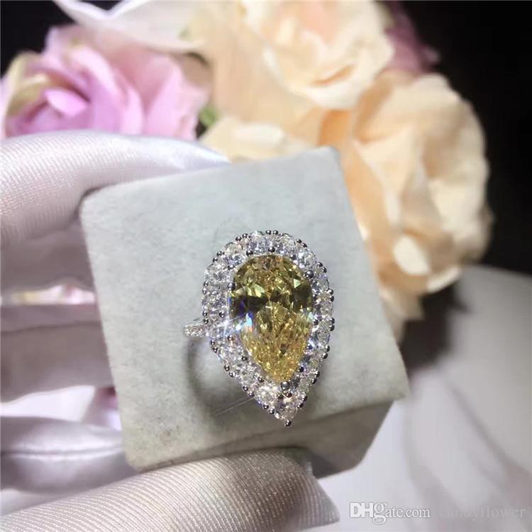 VENTE EN GROS Haute qualité classique en argent sterling 925 CZ diamant grande larme jaune bague en cristal mariage bijoux de fête pour les femmes