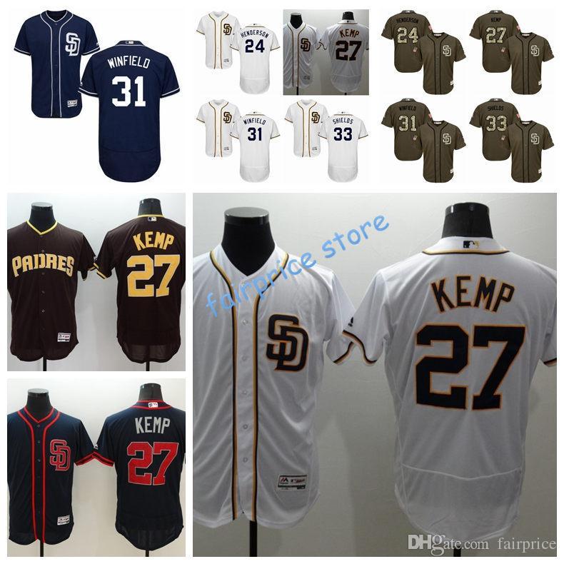 723a75588ff ... 2017 Mens San Diego Padres Baseball Jerseys 24 Rickey Henderson 27 Matt  Kemp 31 Dave Winfield ...