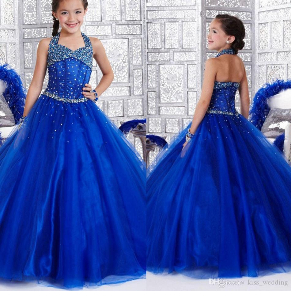 Bling Bling Crystals Graduation Gown Kids Halter Beads Baby Blue ...