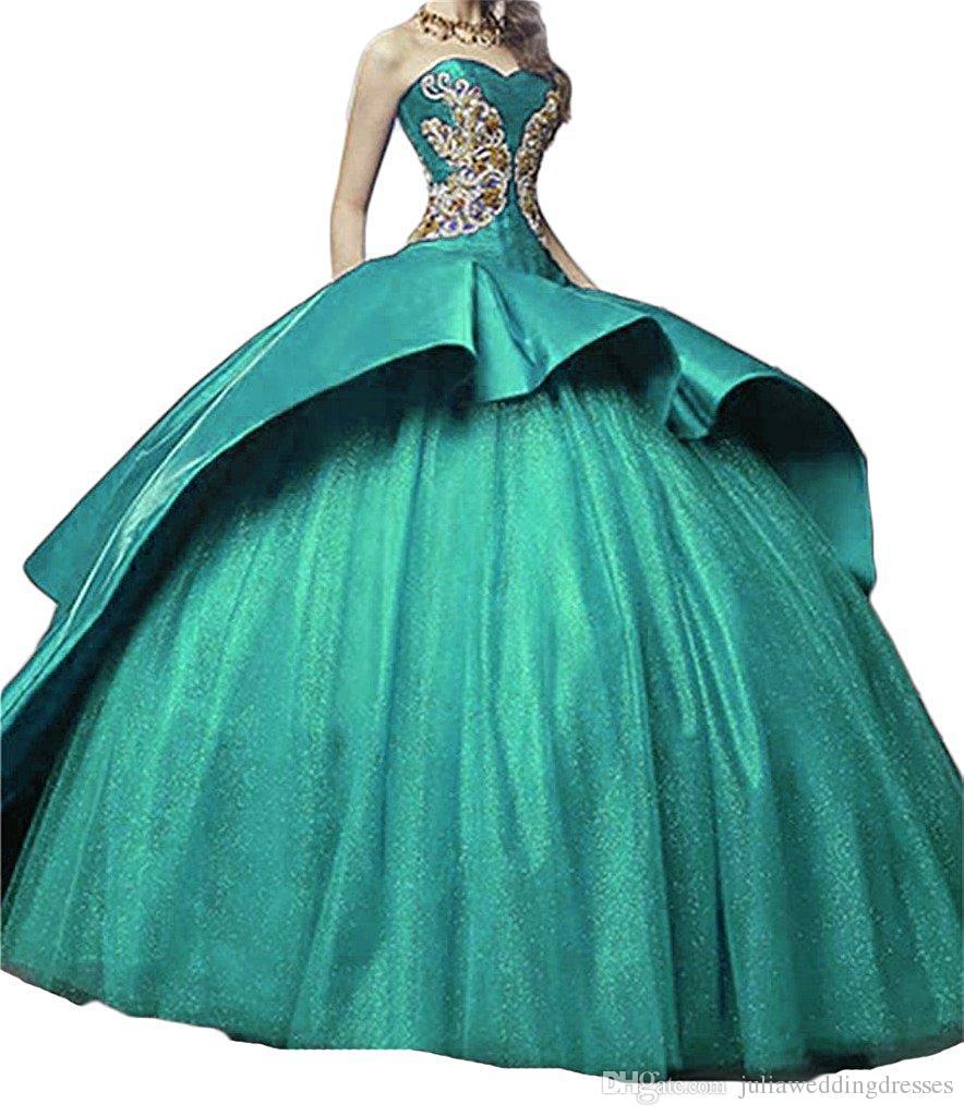 2017 neueste Schatz Satin Ballkleid Quinceanera Kleider mit Applikationen Lace Up Sweet 16 Kleid Debütantin Kleider QC505