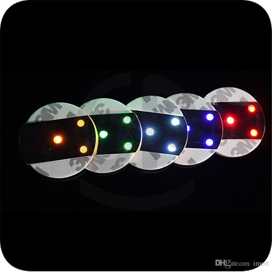 LED Flashing Light Bulb Bottle Cup Mat Coaster For Party Night Club Bar Party Gift 3M Sticker Cup Mug Coaster Festival Light