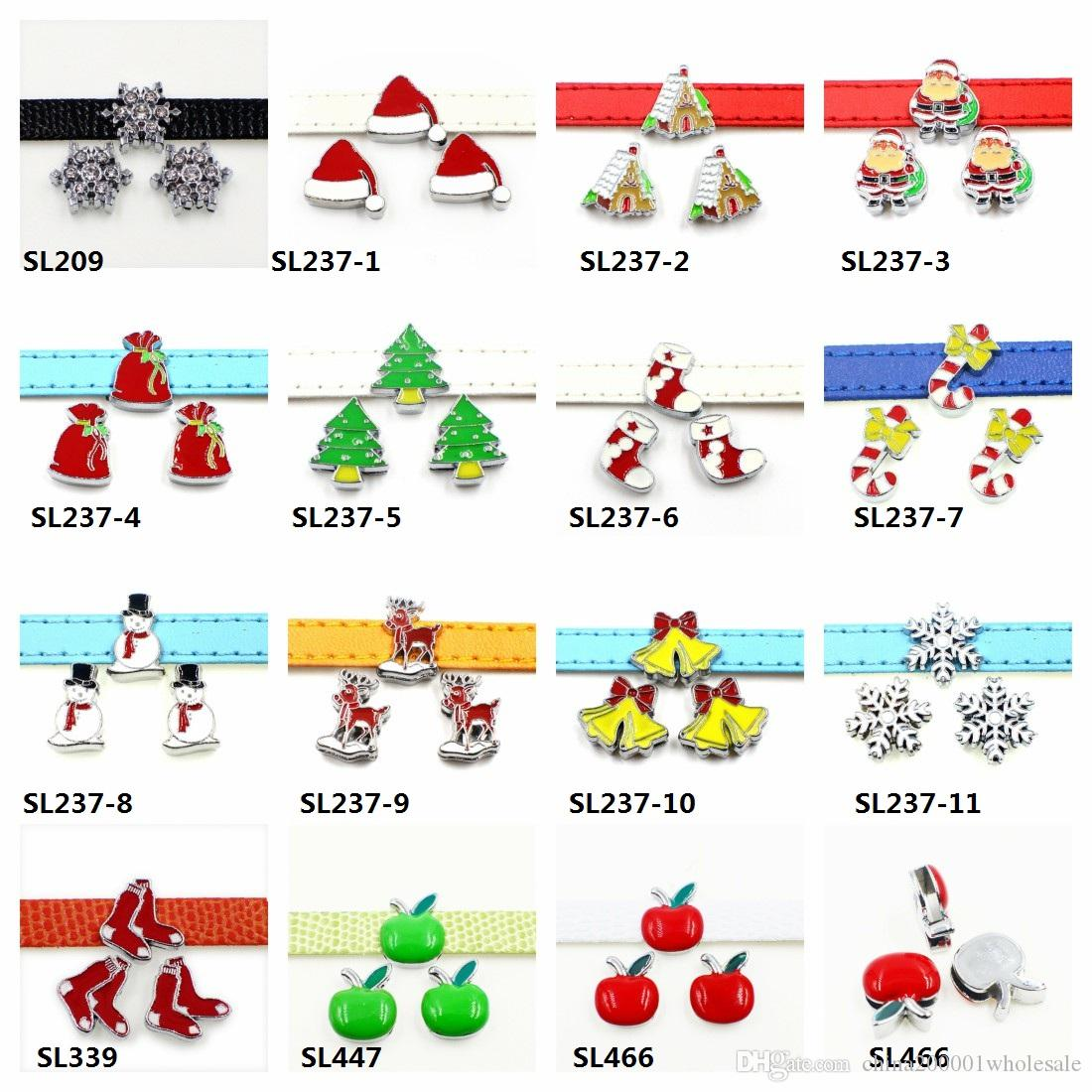 8mm Christmas series Slide Charms Fit Pet Collars Wristbands Belts key chain DIY accessory Jewelry Findings