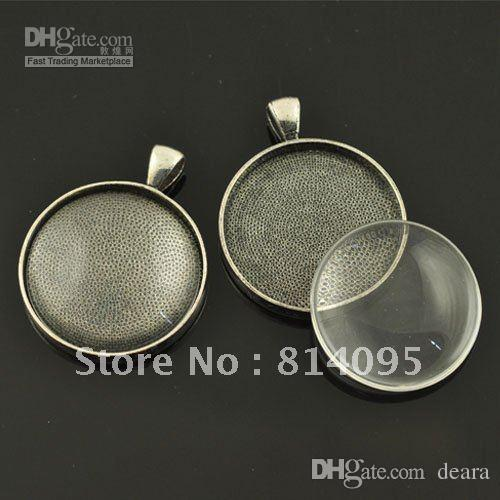 Wholesale 30mm black gun blank pendant trays matching clear glass wholesale 30mm black gun blank pendant trays matching clear glass cabochons for custom photo jewelry making jewelry silver pendants from deara mozeypictures Images