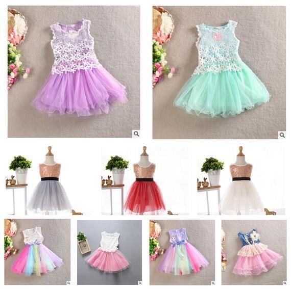2019 Girl Lace Dress Flower Bowknot Denims Princess Party Dresses ... 6a2801b074be