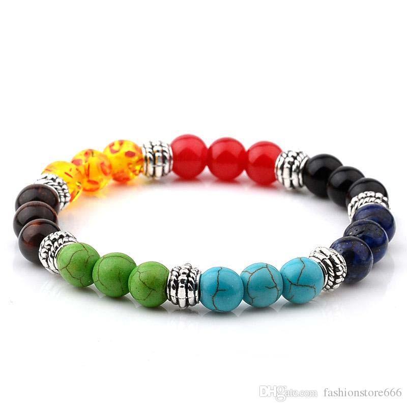 Colorful Stone Buddha beads Bracelet Silver Lion Fox Buddha Charm Yoga Power Bracelets wristbanb bangles for Women Men