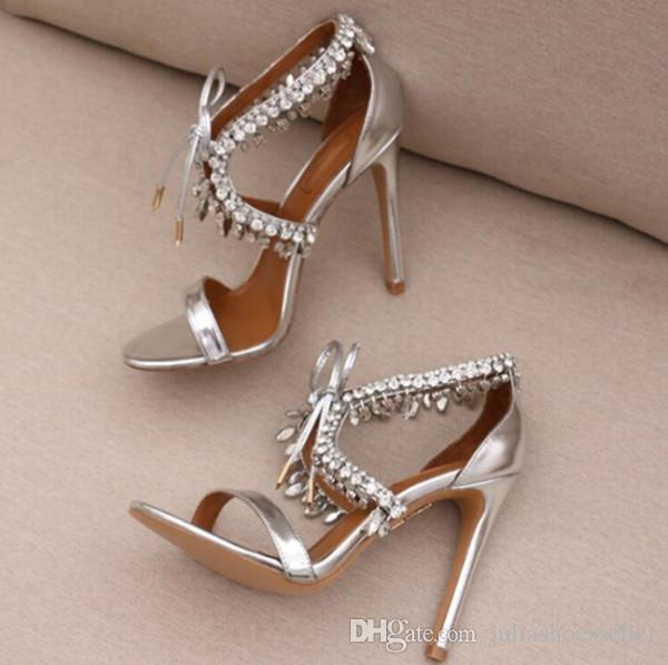 Sexy Crystal Fringe Wedding Shoes Party Dress High Heels Bling Lace-up Womens Sandals Black Nude Silver Suede Gladiator Sandals Woman 2017
