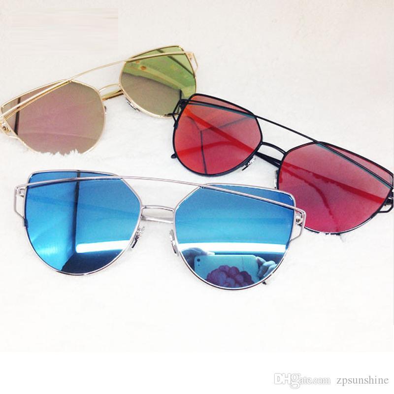 e2a09a3f5743 2017 Good Quality New Arrivals Fashion Women's Men's Sunglasses Flat Lens  Mirror Metal Frame Oversized Cat Eye Sun Glasses Free Shipping