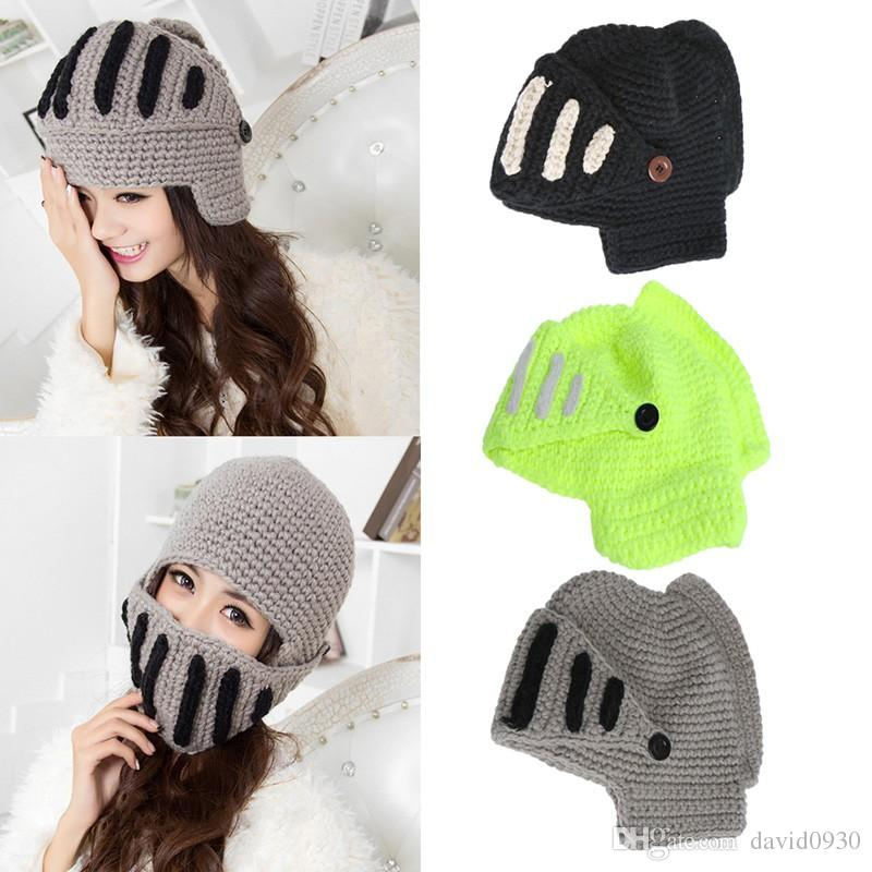 e6e555d41ae 2019 Roman Knight Helmet Caps Knit Warm Winter Hats Funny Party Ski Mask  Beanies Hats From David0930