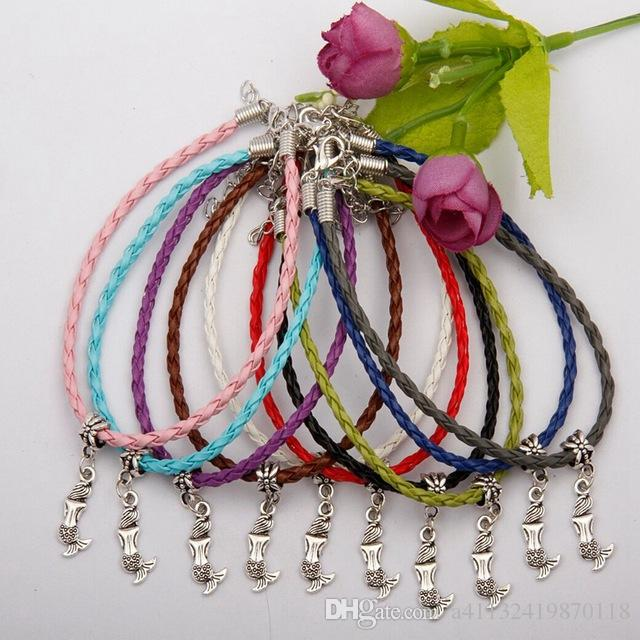 Hot Kabbalah Lovely Small Mermaid Charms Pendant Mixed Color Braided Rope Bracelets Fashion Jewelry DIY For Women&Men F739