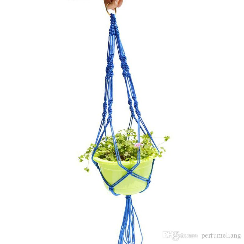 Plante Cintre Titulaire Jute Corde Colorée À La Main Macramé 40 Pouce Maison Jardin Décoration Suspendue Affichage De La Fleur ZA3142