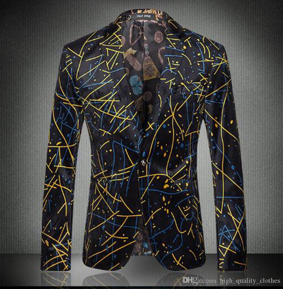 Hot Autumn Outerwear Men Fashion Quality Casual Print Suit Dress ... f06caf6bf16f