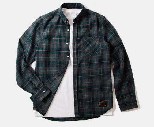 Mens Plaid Shirt 2017 Males Cotton Long Sleeve Couple T Shirt Slim ...