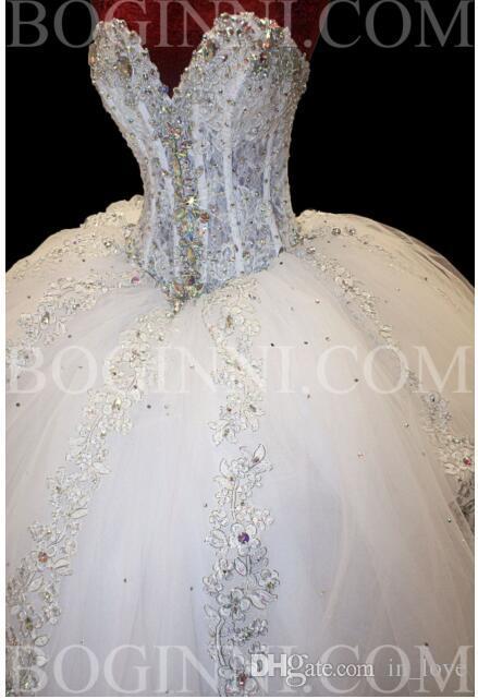 Robe De Bal Diamants Brillantes Robes De Mariée Chérie Dentelle Chapelle Train 2019 De Luxe Robes De Mariée À Lacets Retour Taille Personnalisée