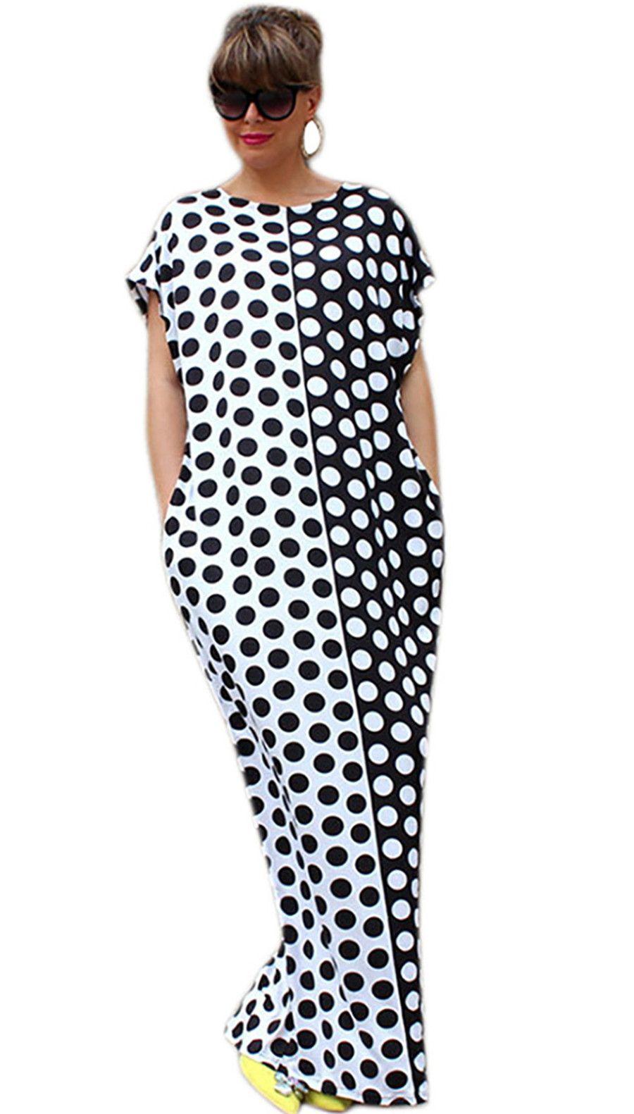 Women Plus Size Boho Summer Dress Short Sleeve O Neck Long Maxi ...