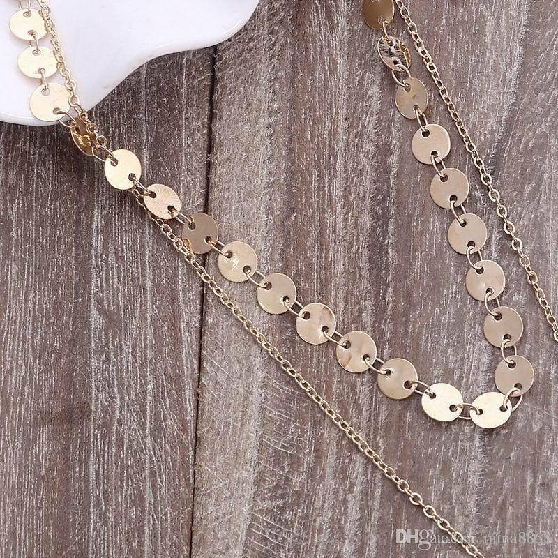 Collar gótico único de 2 capas de oro con delicado disco Conjunto de collar de gargantilla para mujeres Collar de cadena de color dorado