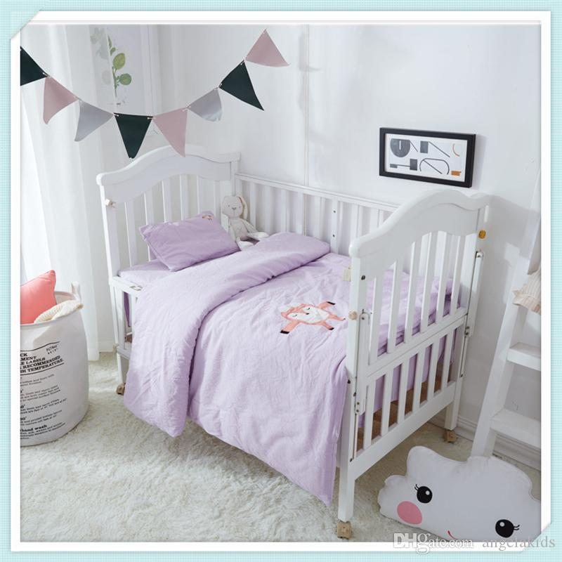 Kids Bedding Sets Three Piece Baby Cartoon Bed Suit Children Kindergarten Quilt Cotton Bed Set Pillowcase Quilt Cover Bedding Set