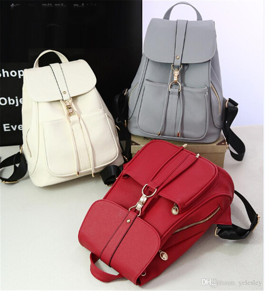 fashion classic backpack pvc rivets handbags schoolbag woman bags