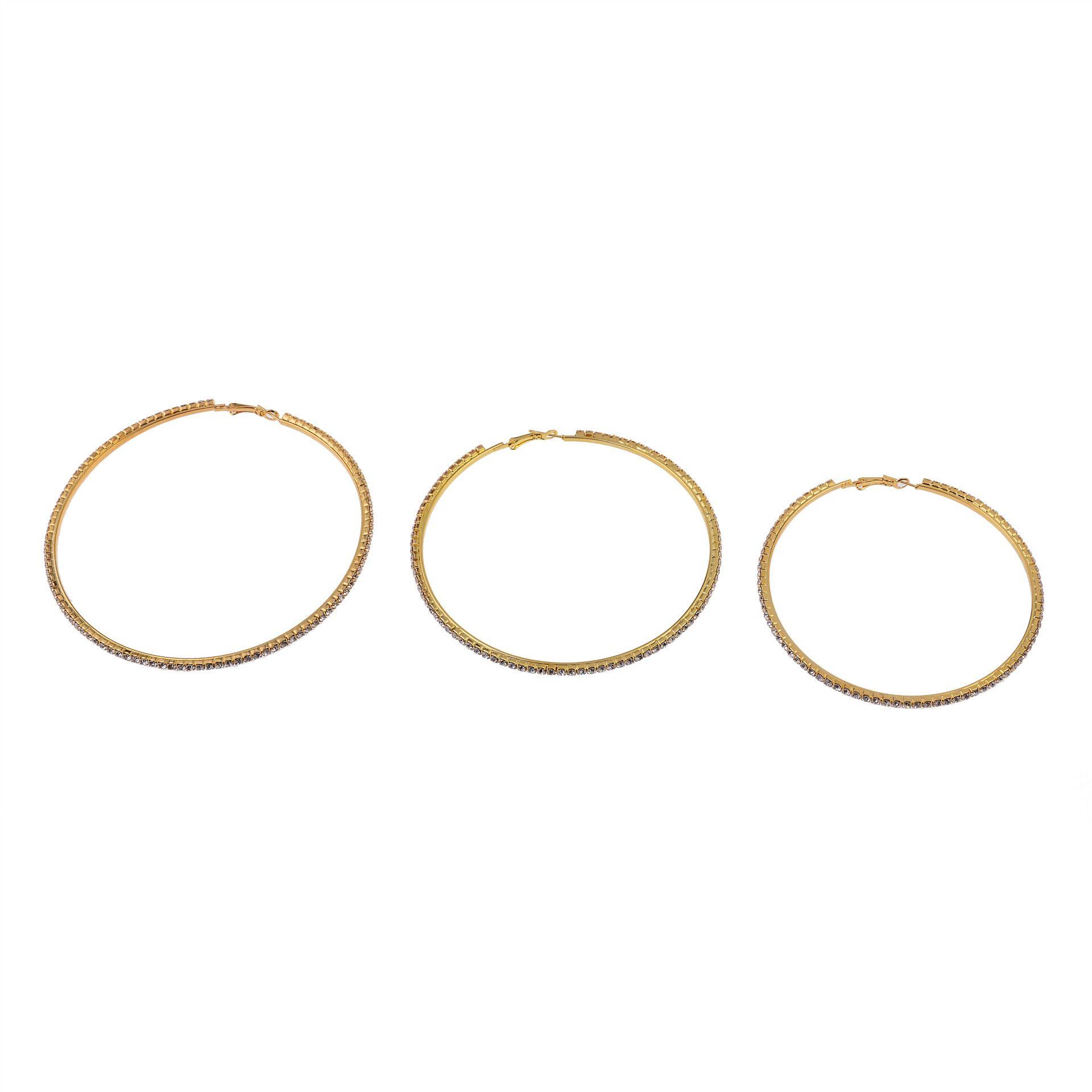Frauen-Marken-Kristall-Kreis-Band-Ohrringe Art und Weise Punk Schmuck Strassohrring-Anhänger-Ring aus Gold Club Hiphop Bijoux 2017